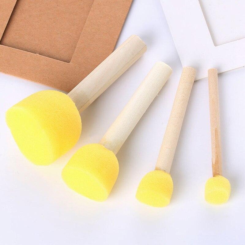 4Pcs/Set Sponge Paint Brushes Toys Wooden Handle Seal Sponge Brushes Kids Children Drawing Painting Graffiti Brush School Supply