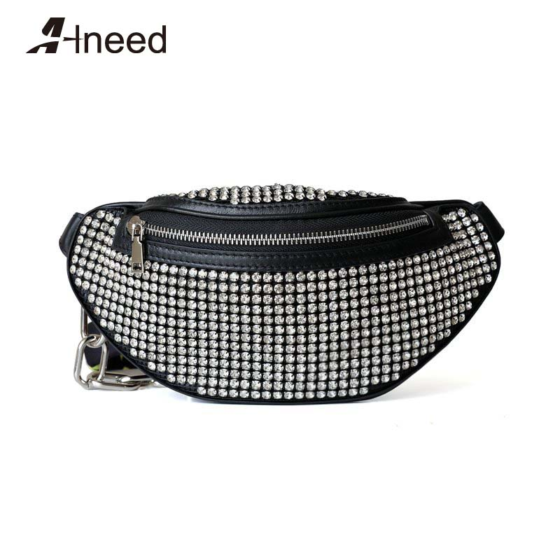ALNEED Fanny Pack 2019 Genuine Leather Waist Bags Women Diamonds Luxury Designer Chest Pack Belt Bag Girls Purse Clutch Bolsa