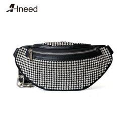 ALNEED Fanny Pack 2019 Genuine Leather Waist Bags Women Diamonds Luxury Designer Chest Pack Belt Bag Girls Purse Clutch Bolsa
