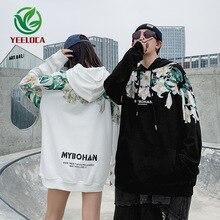 2019 Dropshipping Bitki Çiçek Baskı Hip Hop Sokak Erkek Kadın Sonbahar WinterCotton Kapüşonlu Sweatshirt Gevşek CasualCouple Hoodies