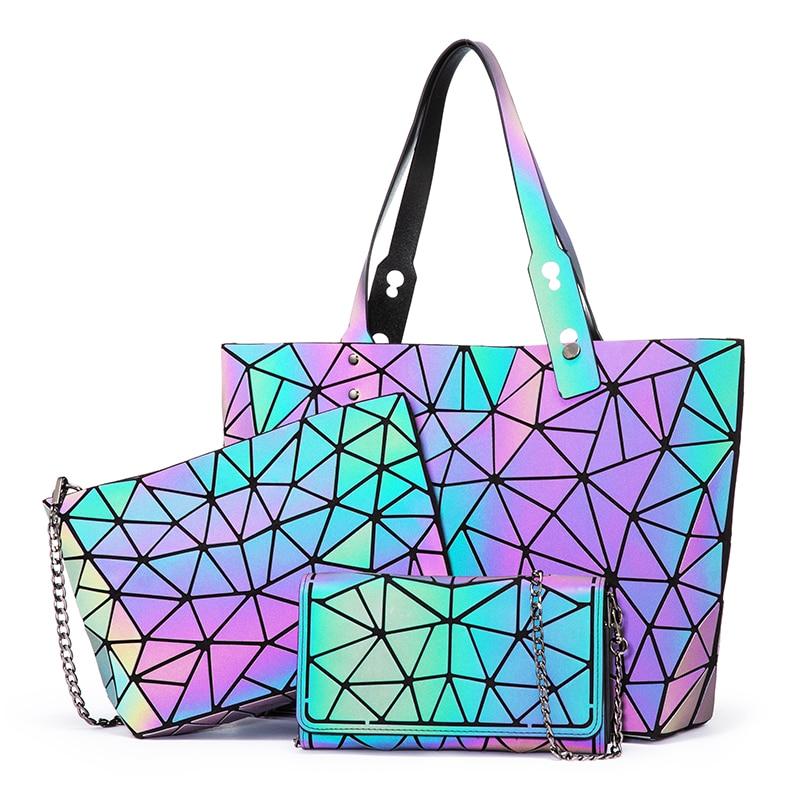 Lovevook women handbags bag set crossbody bags for women 2020 Geometric luminous shoulder bag female purse and wallet Tote bag|Top-Handle Bags| |  -