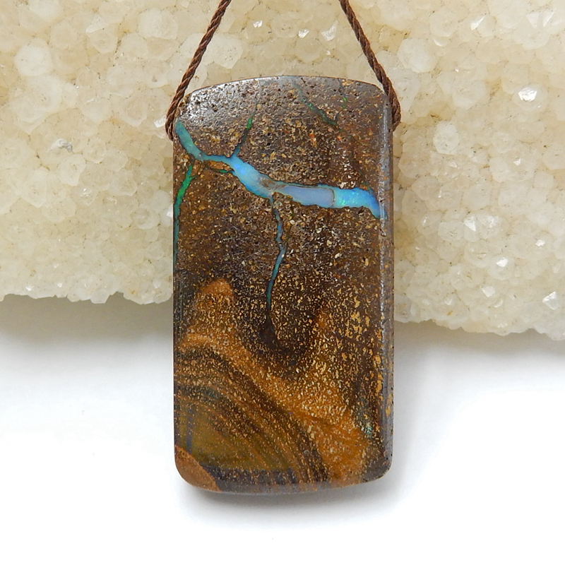 Sale 1Pcs Natural Stone Boulder Opal  Gemstone Necklace Pendant 38x20x8mm 11.5g