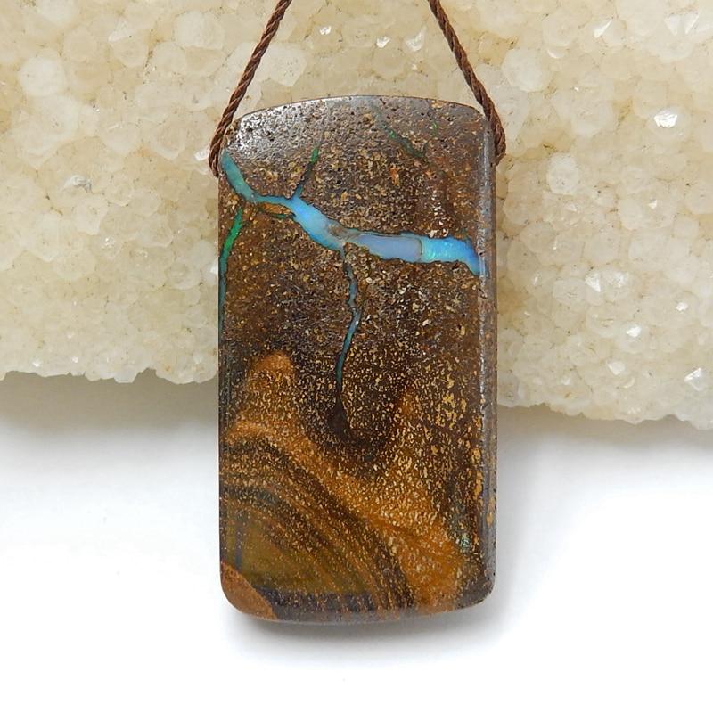 Sale 1Pcs Natural Stone Boulder Opal  Gemstone Necklace Pendant 38x20x8mm 11.5g