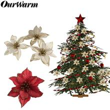 OurWarm 10PCS Christmas Tree Ornaments For Home Artificial Flowers Xmas Navidad Gifts Party Decorations New Year 2019