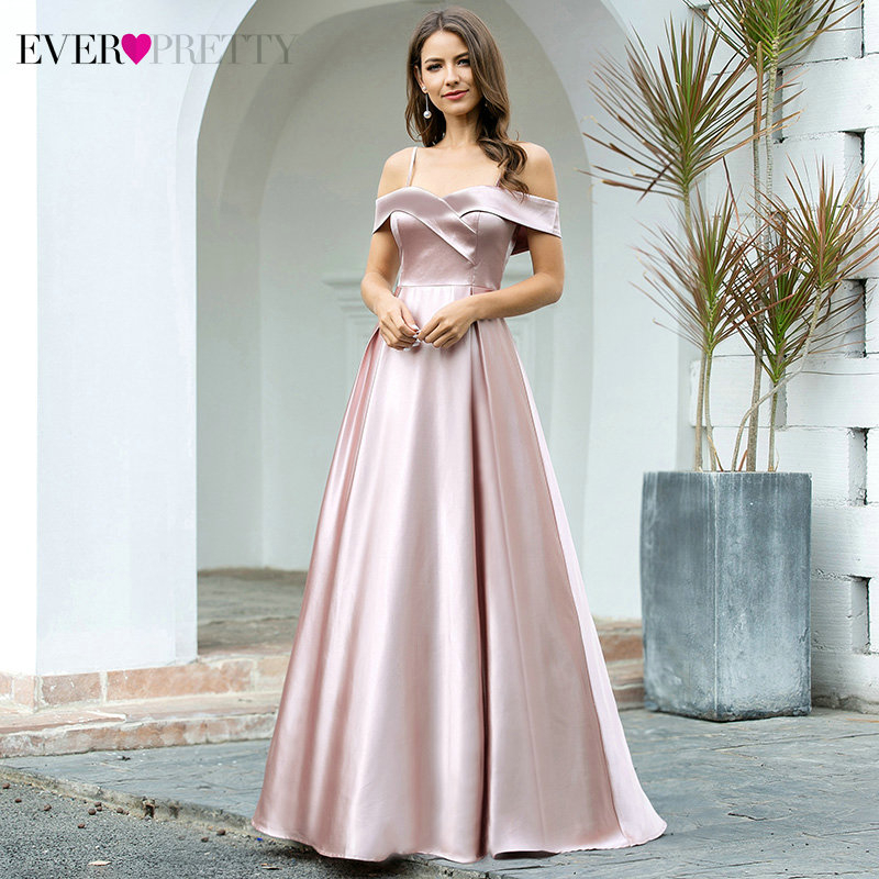 Sexy Satin Prom Dresses Ever Pretty EP00505MV A-Line Spaghetti Straps V-Neck Off Shoulder Party Gowns Vestido De Festa 2020