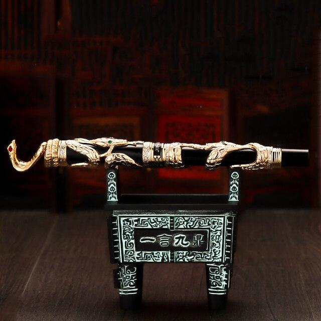Jinhao ダブルドラゴン/スネークヴィンテージ豪華な万年筆ペン/ペンホルダーフルメタル彫刻エンボス大型ギフトペンコレクション