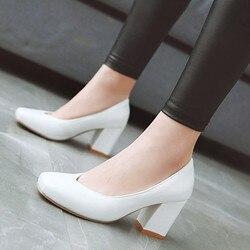 Zapatos de tacón alto clásicos para mujer, calzado de oficina, fiesta, color blanco liso, para boda, primavera y otoño