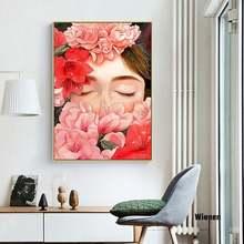 Красивые женщины окруженные цветами холст живопись Скандинавский