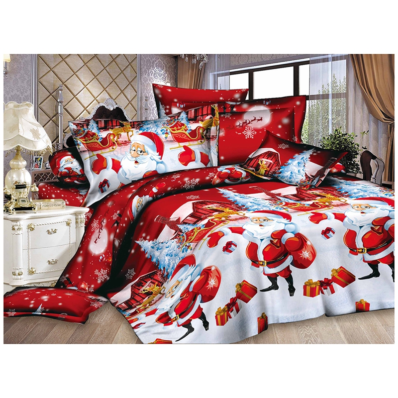 New Christmas Home textile Cotton bedclothes high-quality 4pc bedding set (Color: Red)
