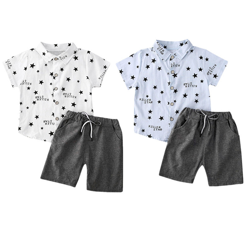 2 Pcs//Set Kids Boys Short Sleeve T Shirt Printed Tops+Shorts Pants Casual Outfit