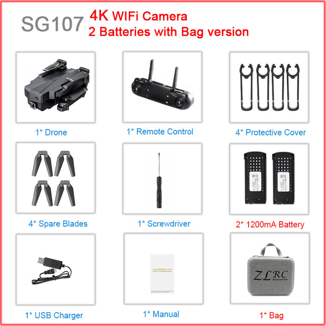 SG107 RC Mini Foldable Mini Drones with HD Camera 4K 1080P WIFI FPV Selfie Optical Flow Stable Height Fly RC Helicopter Toys