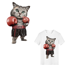 Cute Cat Patch Print on Clothes Heat Transfer Printing Boxing T-shirt Girl Iron PVC Patches for Clothing Women Stickers