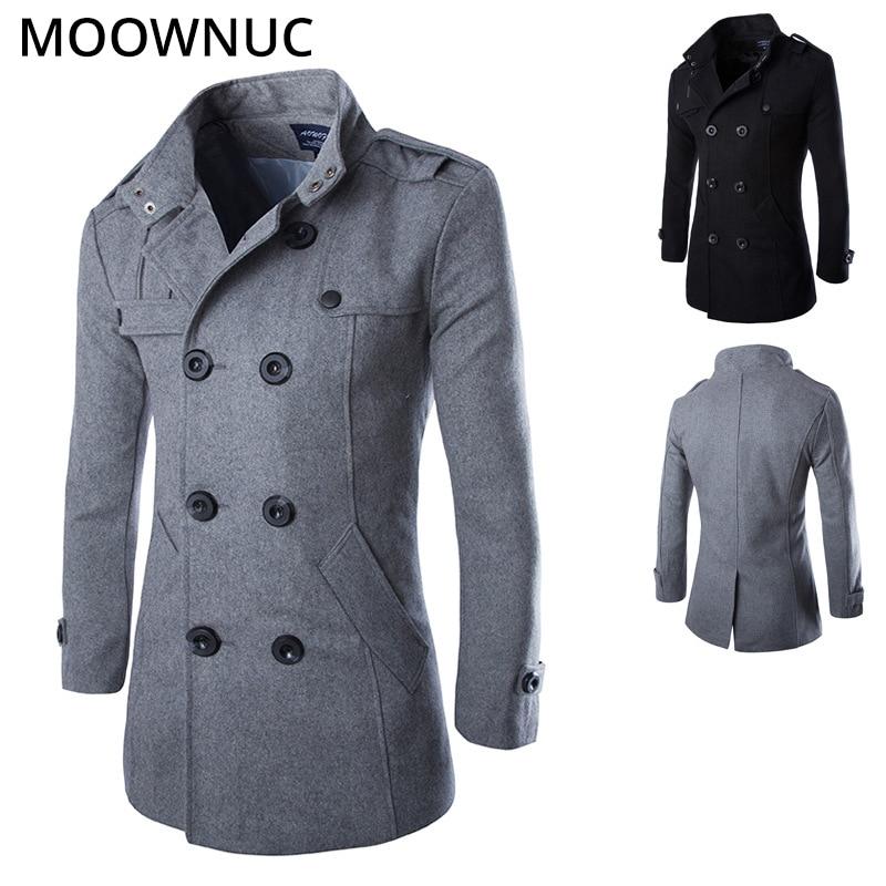 Woollen Overcoat Men's Coats Slim Business Smart Casual Male Thick Autumn Winter Fashion Blends Brand Men's Clothes MOOWNUC MWC