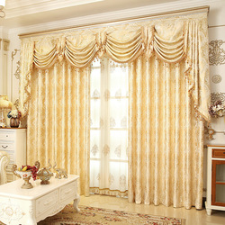 European Style Curtains for Living Dining Room Bedroom Luxury Golden Curtains Valance Curtains Finished Product Customization
