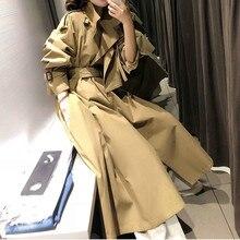 Женский модный Тренч стильный повседневное длинное пальто классический осенний Хаки Цвет ветровка негабаритный свободный Тренч пальто
