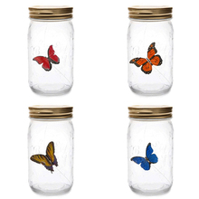 LED Light Butterflies Jar With Lamp Romantic Glass In A Children Gift Home Decoration 17x9x9cm