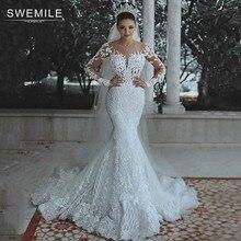 Luxe Dubai Saudi Arabische Kant Mermaid Trouwjurk Sexy Illusion Lange Mouwen Bruid Jurken Kristallen Kralen Bruidsjurken