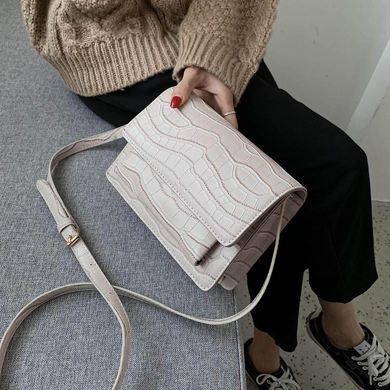 Stone Pattern PU Leather Crossbody Bags  For Women 2020 Spring Fashion Shoulder Messenger Bag Lady Travel Handbags