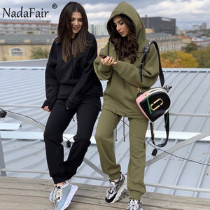 Nadafair Two Piece Set Outfits Autumn Women's Tracksuit Oversized Hoodie And Pants Casual Sport Suit Winter 2 Piece Woman Set
