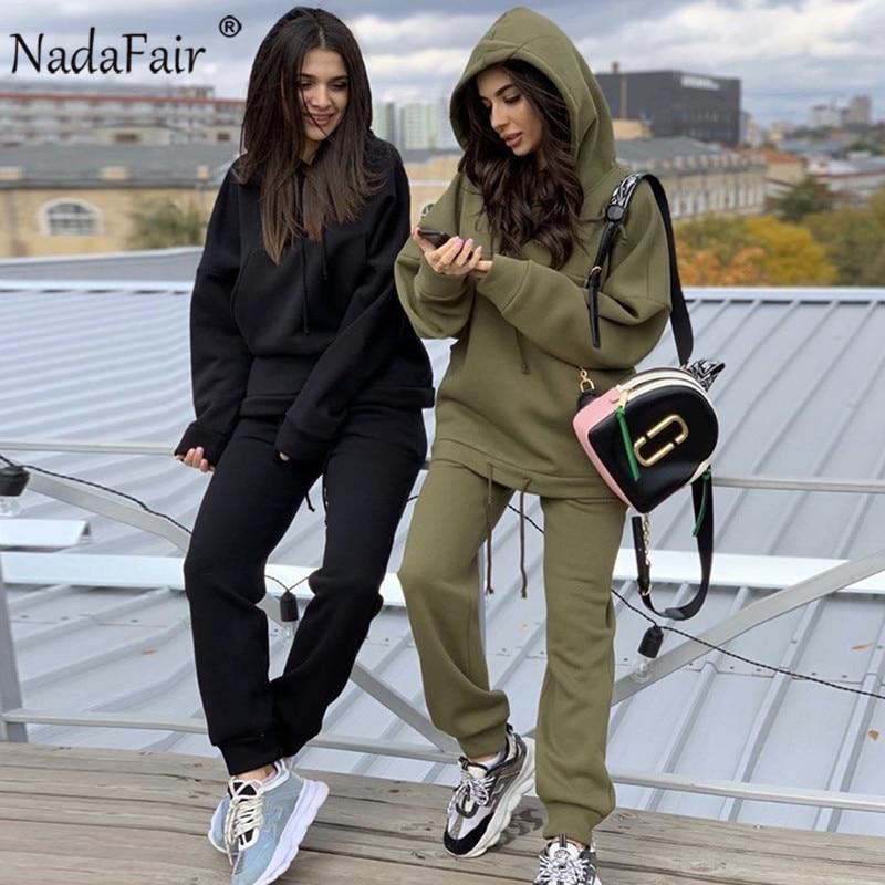 Nadafair/комплект из двух предметов, Осенний женский спортивный костюм, толстовка и штаны большого размера, повседневный спортивный костюм, зимний женский комплект из 2 предметов
