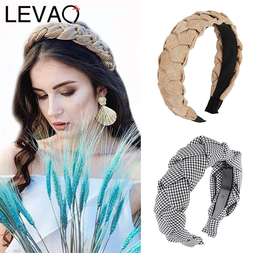 LEVAO Braid Headbands Twist Plaid Headband Female Elegant Bezel Turban Women Hairbands Girls Hair Accessories Hair Hoop Headwear