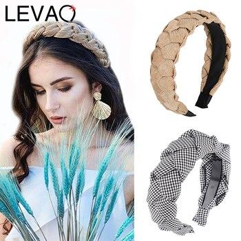 LEVAO New Handmade Twist Plaid Headband Female Elegant Bezel Turban Women Hairbands Girls Hair Accessories Hoop Headwear