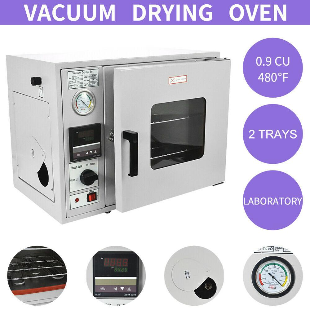 110V/220V 0.9Cu Ft Lab Vacuum Air Convection Drying Oven Chamber 2 Trays 480°F Digital Temp Control Laboratory Equipment