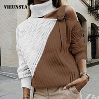 Patchwork Sweater Women Sexy Off Shoulder Turtleneck Warm Autumn Pullover Winter Long Sleeve Ribbed Sweater Knitted Tops Jumper
