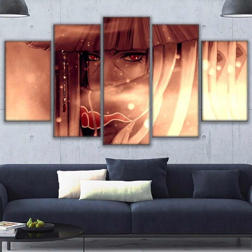 Duvar sanatı resimleri ev dekor oturma odası için HD baskılar Anime posteri çerçeveli 5 adet Naruto Uchiha Itachi tuval resimleri 2020