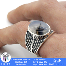 925 Sterling Silver Men Ring with Big Natural Onyx Stone Retro Punk Thai Silver Ring for Male Female Turkish Jewelry