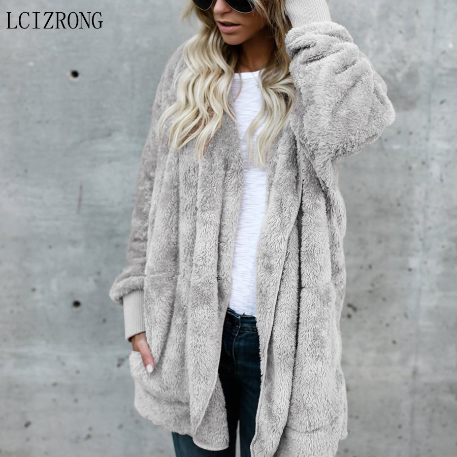 Autumn Hooded Open Stitch Faux Fur Coat Women Solid Plus Size Teddy Coat Winter Long Sleeve Pink Fashion Slim Fur Jacket Female