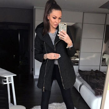 Casual Sweatshirt  Coat Jacket Top Women Coat Hooded Side Zip Pocket Stitching Long Sleeve Jacket For Autumn Winter Solid Color