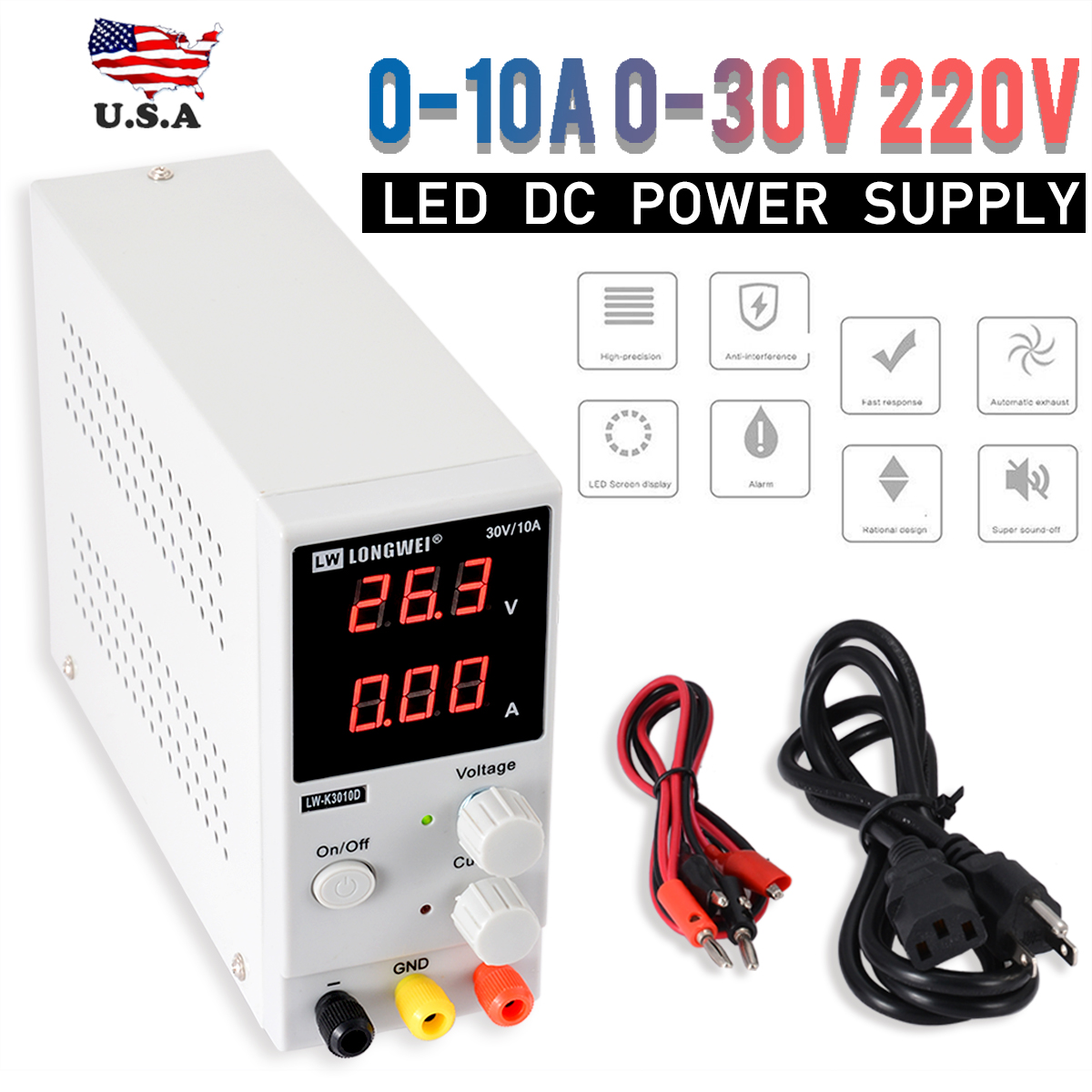 New 0 10A 0 30V 220V LED DC Adjustable Precision Variable Digital Power Supply Laboratory Power Supply Max.300W Durable