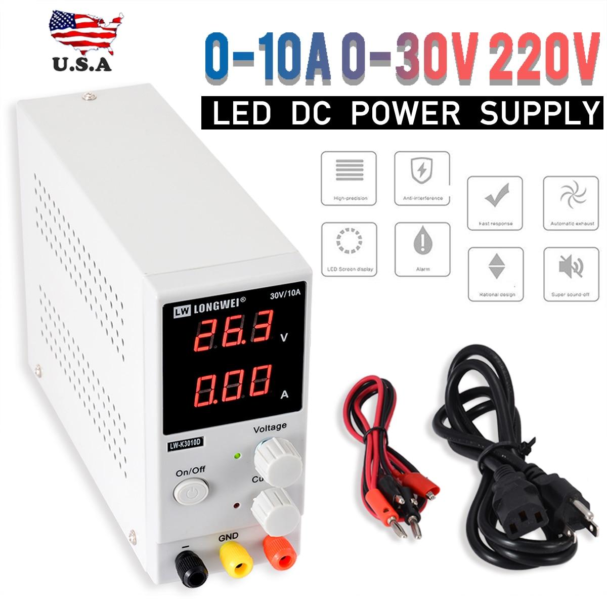 Nouveau 0-10A 0-30V 220V LED DC réglable précision Variable alimentation numérique laboratoire alimentation Max.300W Durable
