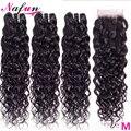 Nafun Bundels Met Sluiting Braziliaanse Haar Weefsel Bundels Met Sluiting Water Wave Non-Remy Human Hair 3 Bundels Met sluiting
