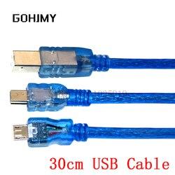 USB-кабель 30 см для Uno r3/Nano/MEGA 2560/Leonardo/Pro micro/DUE Blue, высококачественный тип A USB/Mini USB/Micro USB 0,3 м для Arduino
