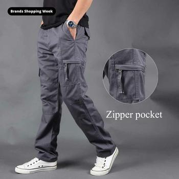 FALIZA New Cargo Pants Men's Zipper Side Pockets Cotton Men Military Style Tactical Trousers Outwear Straight Loose Pants PA50 zipper fly straight leg pockets cargo pants