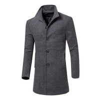 Men Jacket Warm Winter Trench Long Outwear Button Smart Overcoat Male Casual Slim Long Woolen Cloth Coat Large Size 7.30