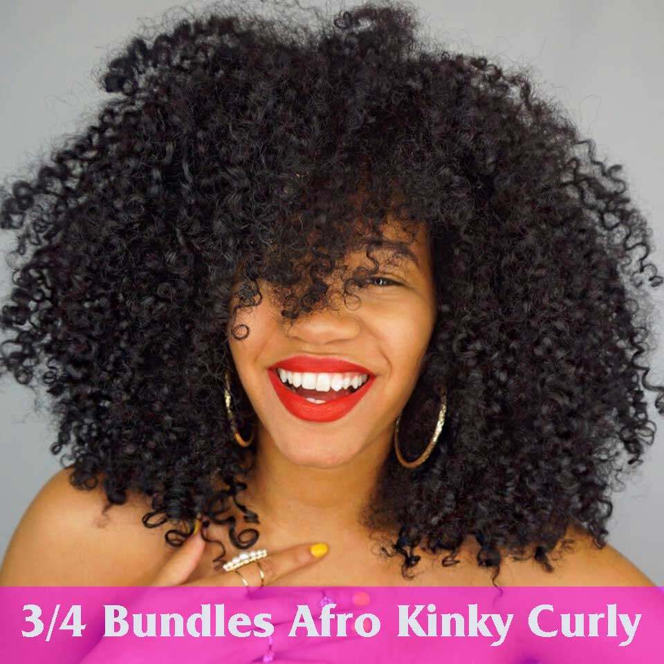 Mongolian Afro Kinky Curly Weave Hair Bundles 100% Human Hair Extensions 3/4 Bundle Nature Color Non Remy Beauty Lueen Hair