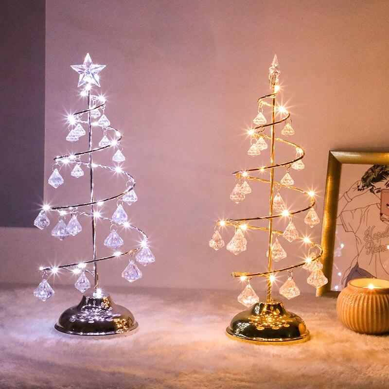 Crystal LED Christmas Tree Table Light Desk Decor Light Lamp Living Room Bedroom Night Lights Holiday New Year Gift
