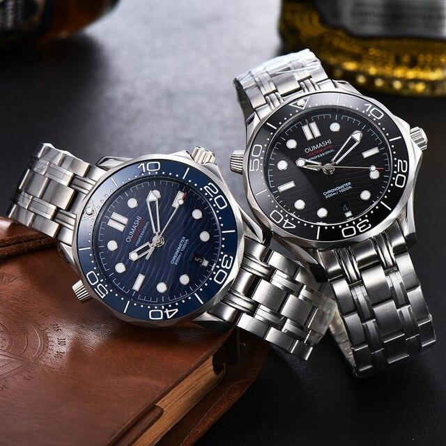 Oumashi montre pour hommes automatique mécanique sous plongée montre calendrier lumineux acier inoxydable lunette céramique