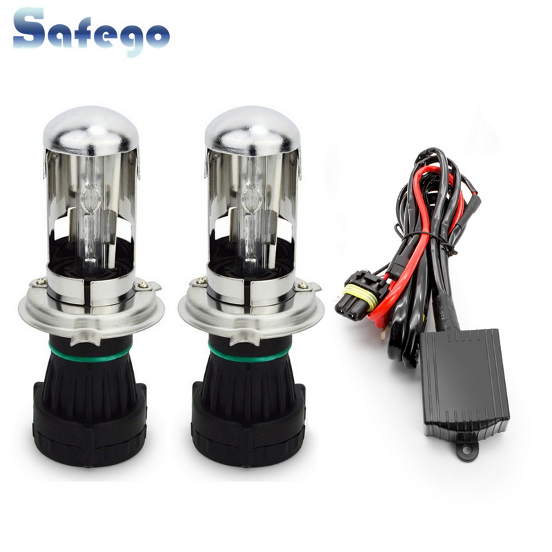 Safego AC 35w Bi Xenon H4 Bi-xenon 9004 9007 H13 Hi/Lo HID BIXENON REPLACEMENT Bulbs Headlight 4300K 6000K 8000K Relay Harness