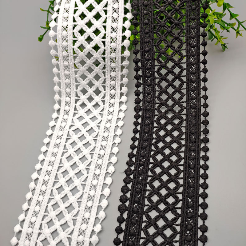 70 мм 75 мм черно белая открытая Цветочная вышитая кружевная лента DIY Одежда швейная ткань кружевная лента платье украшение одежды Кружево      АлиЭкспресс