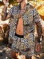 2021Summer Men Fashion Hawaiian Suits Printed Short-sleeved Button Shirt + Beach Shorts Street Casual Men's Sand Beach Two-Piece