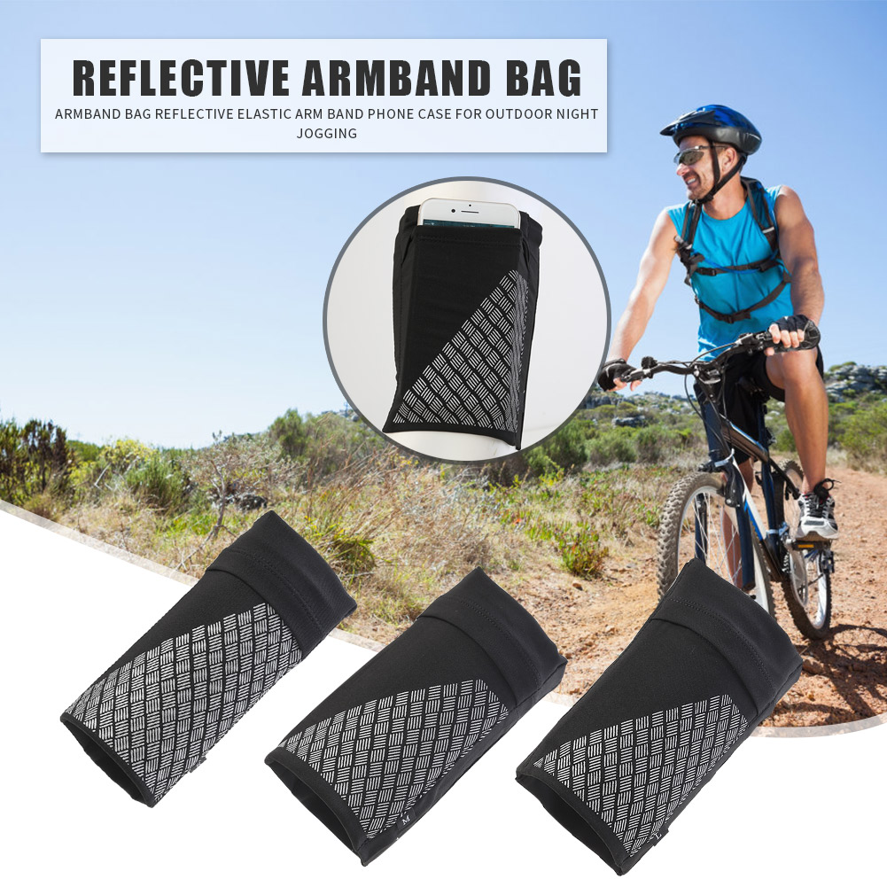 Armband Bag Reflective Elastic Non-slip Arm Band Mobile Phone Cellphone Case For Outdoor Running Night Jogging Cycling Sports