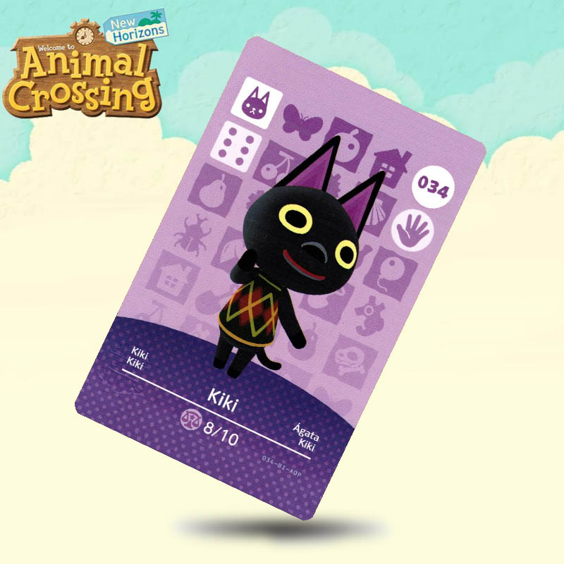 034 Kiki  Animal Crossing Card Amiibo Cards Work For Switch NS 3DS Games