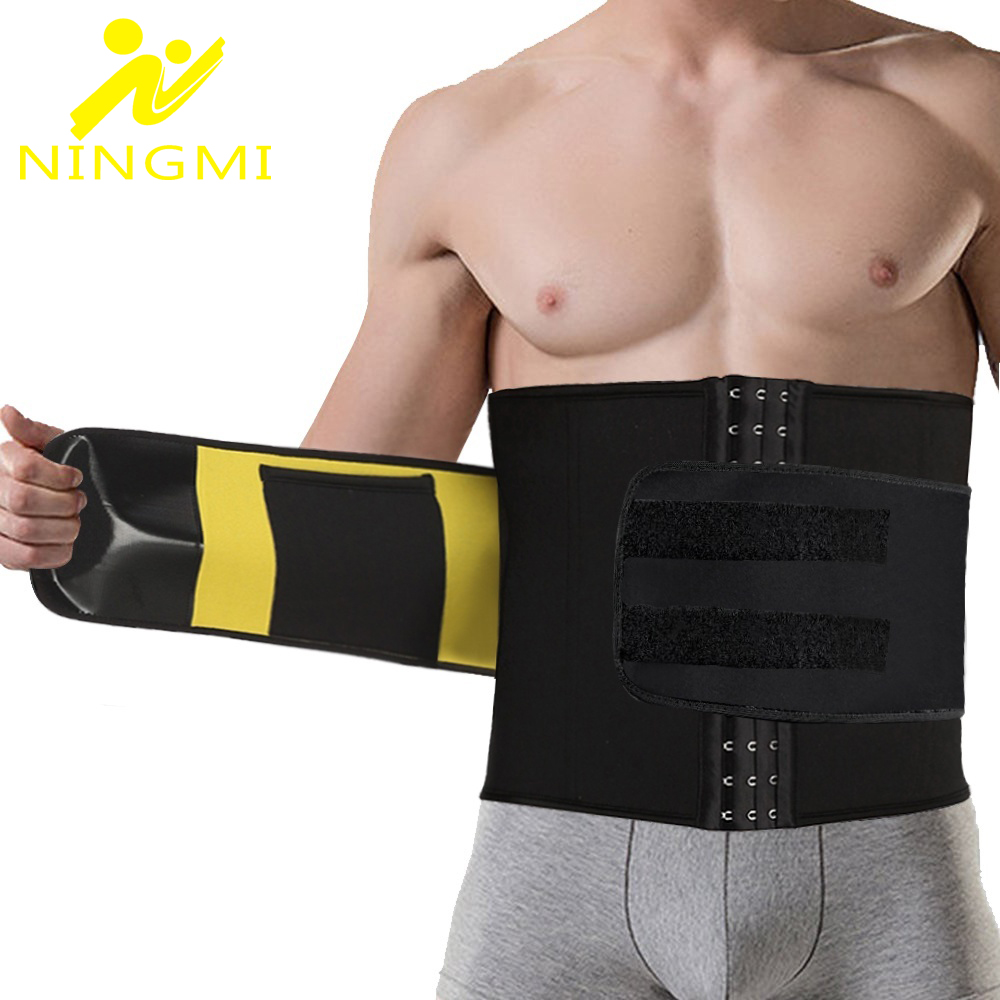 NINGMI XS-5XL Waist Trainer Men Slim Waist Belts Tummy Body Shaper Corset Slimming Underwear Neoprene Shapewear Strap Plus Size