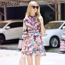 Delocah Runway Fashion Autumn A-Line Dress Women's Flare Sleeve Floral Printed Mesh Ruffled Elegant Vintage Mini Short Dresses blue random floral printed a line mini dress