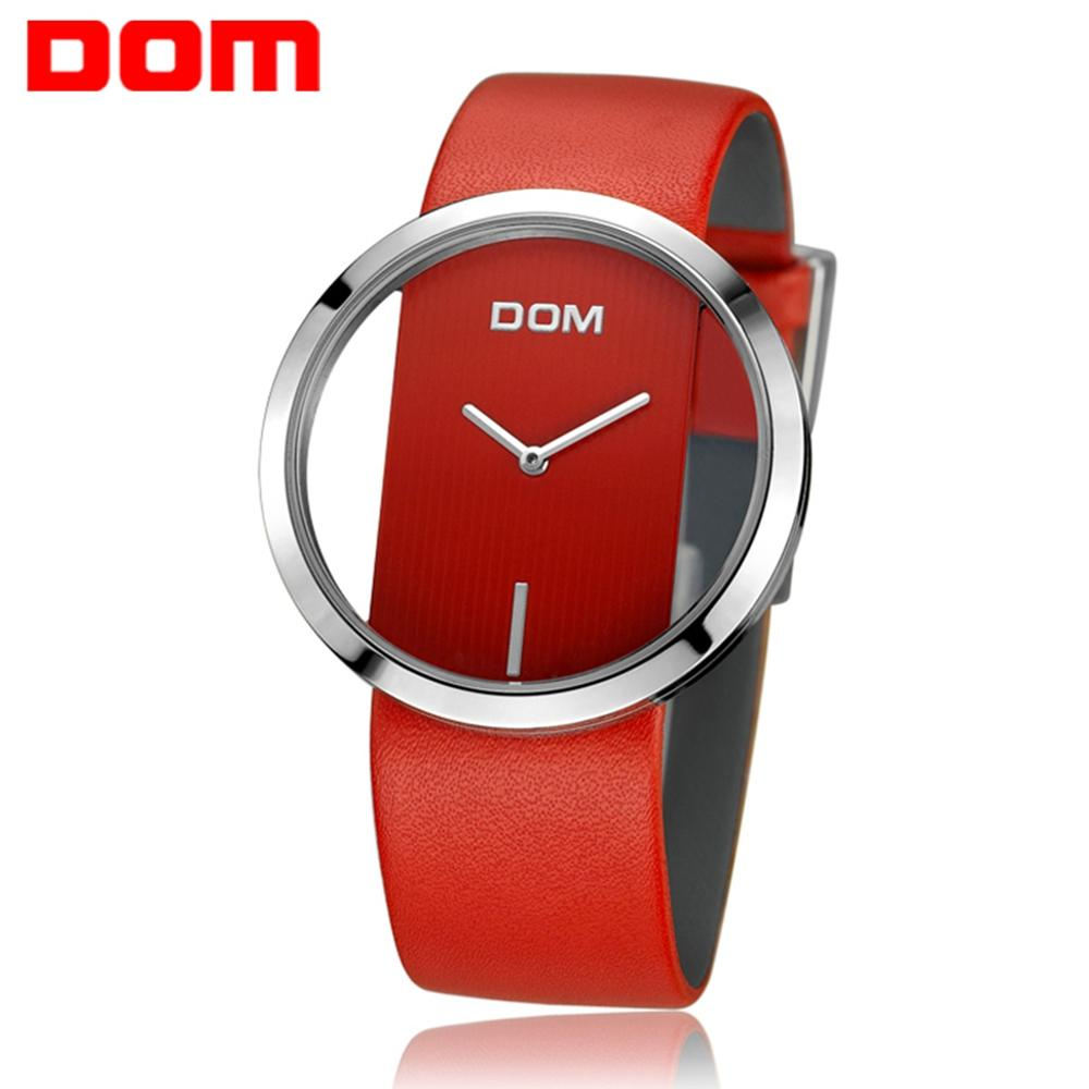 DOM Women Fashion Red Quartz Watch Lady Leather Watchband High Quality Casual Waterproof Wristwatch Female Elegant Watch LP-205