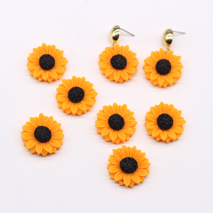 10pcs 25mm Yellow Daisy Flower Earring Resin Charms Flatback Cabochon Bead Diy Craft Brooch Patch Handmade Jewelry Accessory